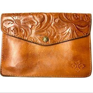 Patricia Nash Leather Cognac Midi Clutch Purse